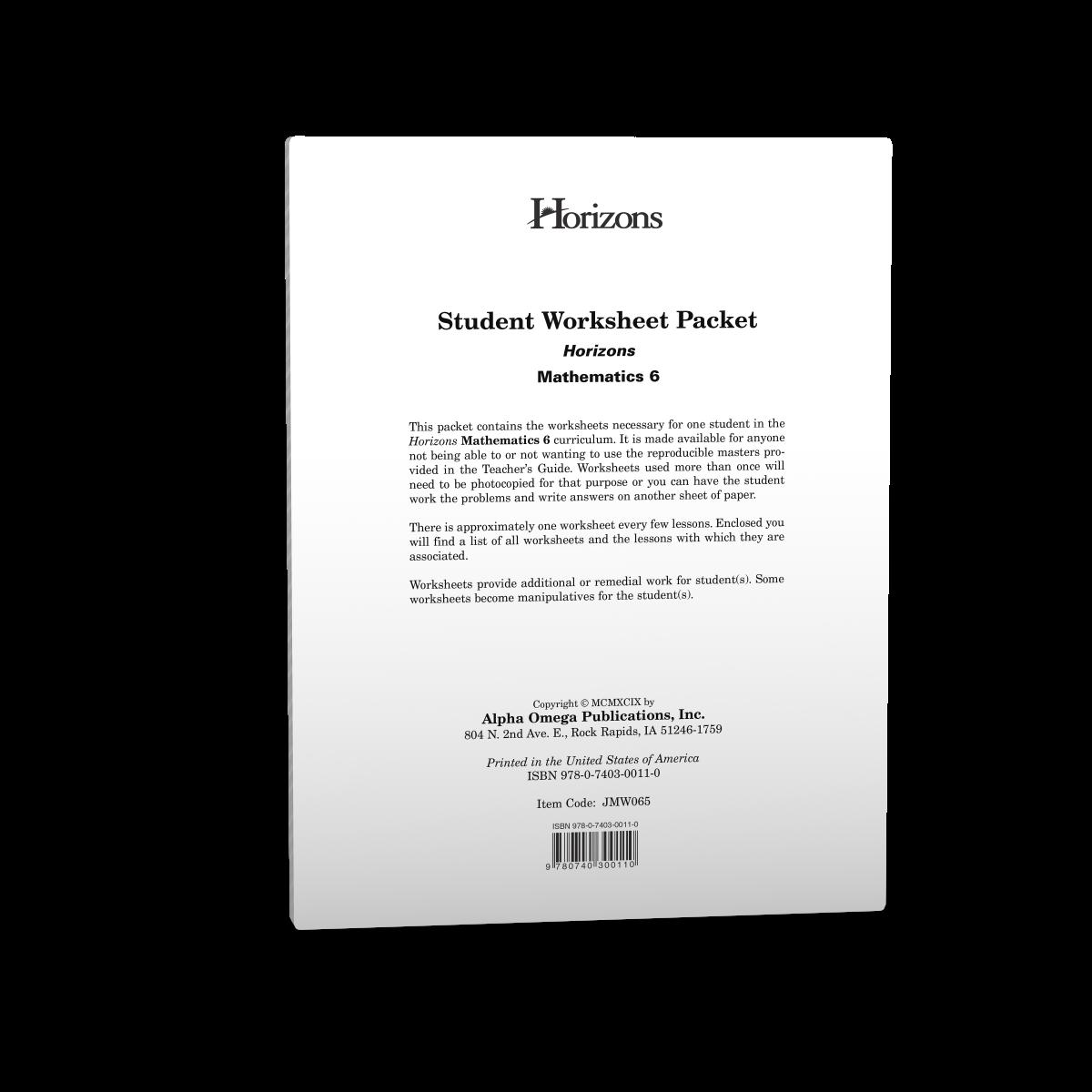 Horizons 6th Grade Math Student Worksheet Packet - AOP Homeschooling