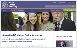 Screenshot of Alpha Omega Academy Website