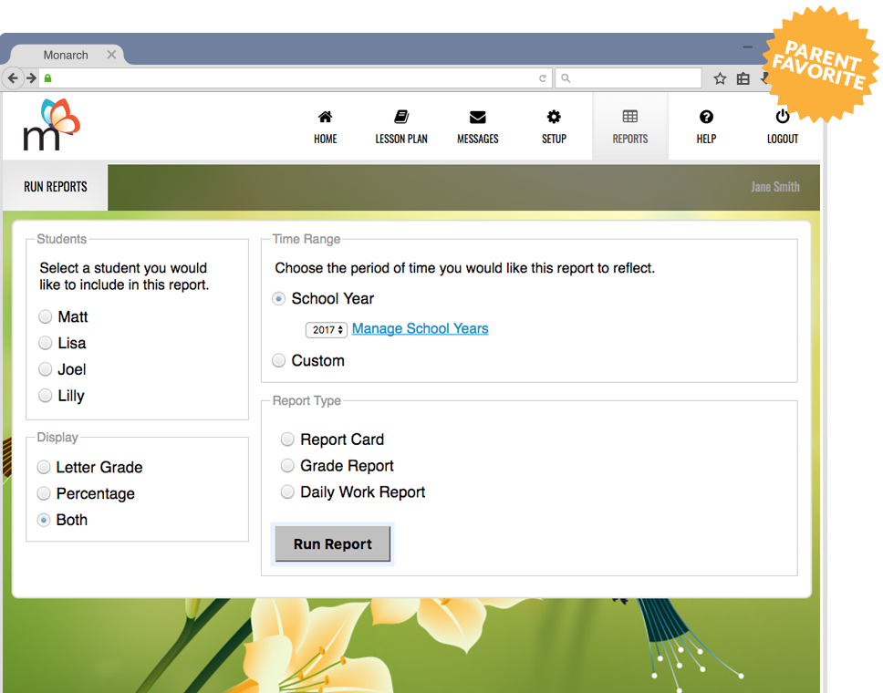 Parent Favorite Screenshot of Monarch Courses Dashboard