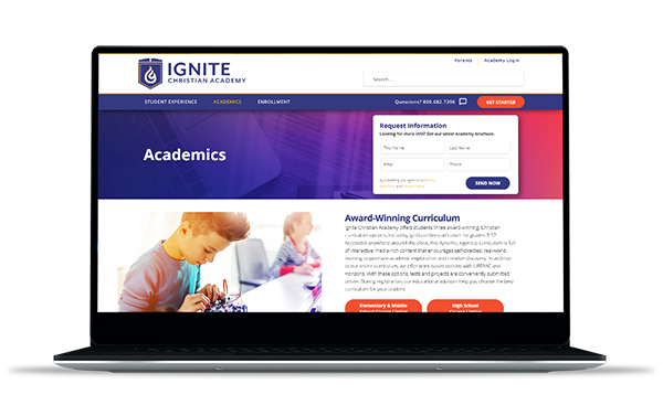 Screenshot of Ignite Christian Academy Website
